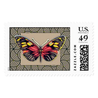 Vintage Butterfly Art Stamp