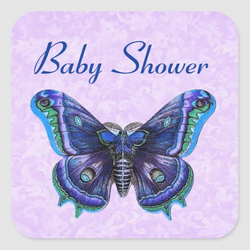 vintage butterfly baby shower favor or seal square sticker zazzle