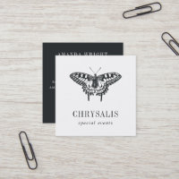 Vintage Butterfly | Black and White Square Business Card