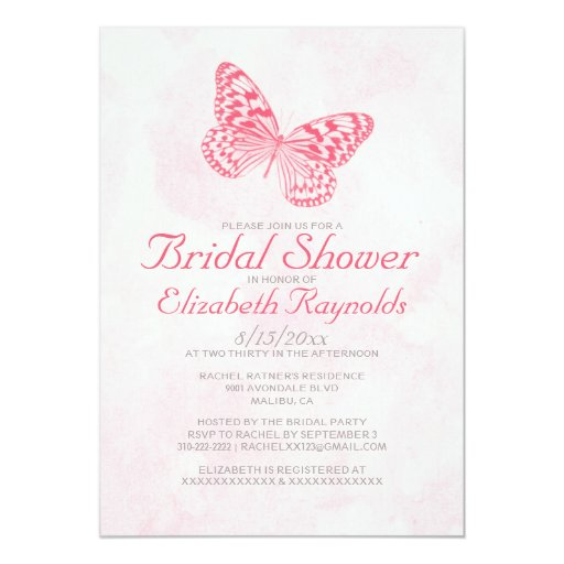 Vintage Butterfly Bridal Shower Invitations