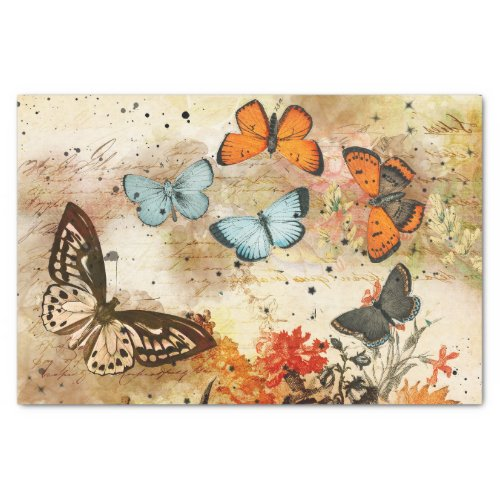 Vintage Butterfly Collage Tissue Paper
