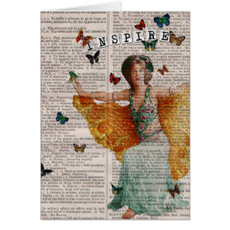 Vintage Butterfly Dancer Dictionay Page Notecard Stationery Note Card
