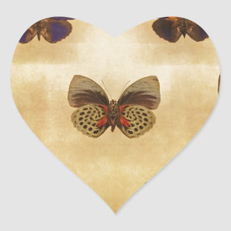 Vintage Butterfly Display Heart Sticker