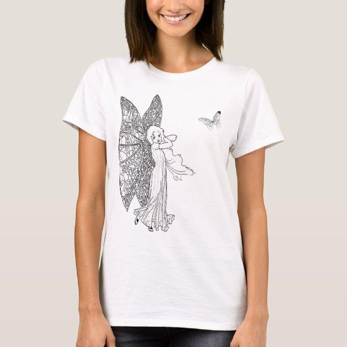 vintage butterfly fairy tshirt black, white sketch