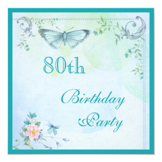 Vintage Butterfly, Flowers & Swirls 80th Birthday Card