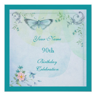 Vintage Butterfly, Flowers & Swirls 90th Birthday Poster