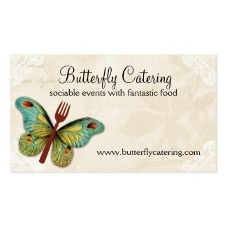 vintage butterfly fork chef catering business card