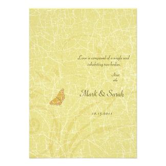 Vintage Butterfly Golden Flourish Wedding Invitati Custom Announcement