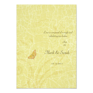 "Vintage Butterfly Golden Flourish Wedding Invitati 5"" X 7"" Invitation Card"