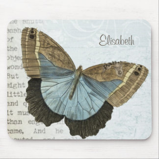 Vintage butterfly illustration name mouse pad