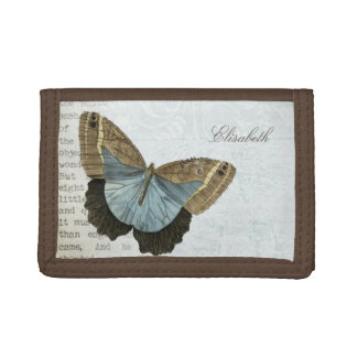 Vintage butterfly illustration name trifold wallet