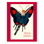 Vintage Butterfly Lady Valentine Postcard
