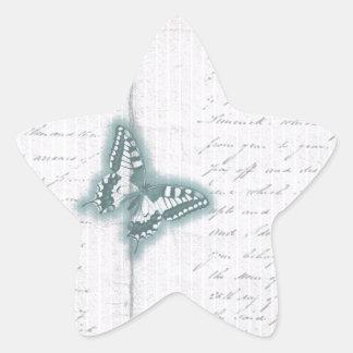 Vintage Butterfly letter Star Sticker