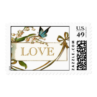 Vintage Butterfly Love Wedding Postage Stamps