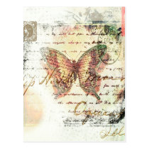 Vintage butterfly mail postcard