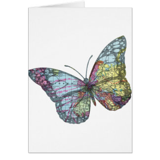 Vintage Butterfly Map Card