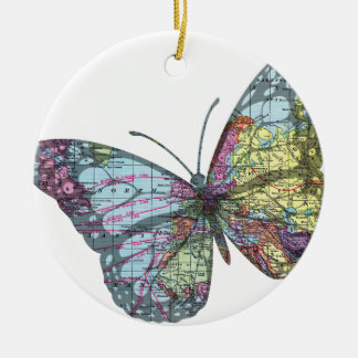 Vintage Butterfly Map Ceramic Ornament