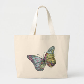 Vintage Butterfly Map Large Tote Bag