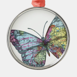 Vintage Butterfly Map Metal Ornament