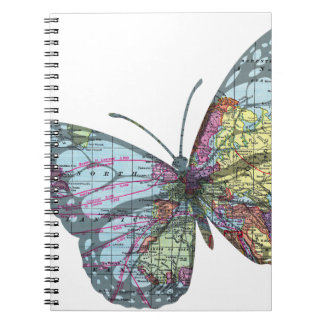 Vintage Butterfly Map Notebook