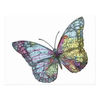 Vintage Butterfly Map Postcard