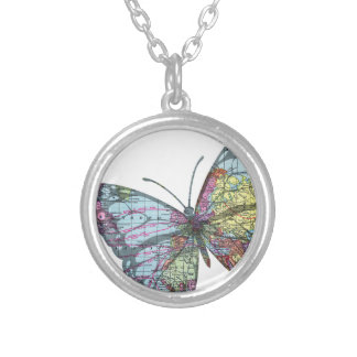 Vintage Butterfly Map Silver Plated Necklace