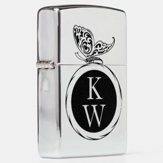Vintage Butterfly Monogram Zippo Lighter