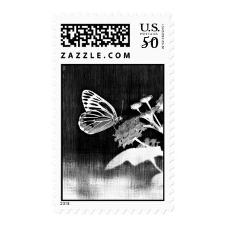 Vintage Butterfly on flower - Black and White 2 Postage
