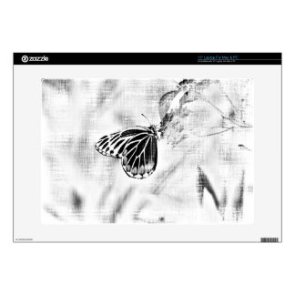 Vintage Butterfly on flower - Black and White Decal For Laptop