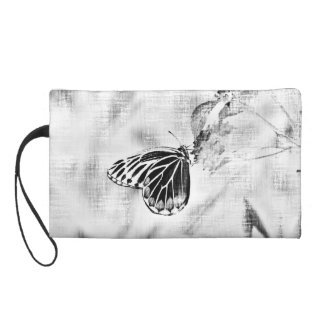 Vintage Butterfly on flower - Black and White Wristlet