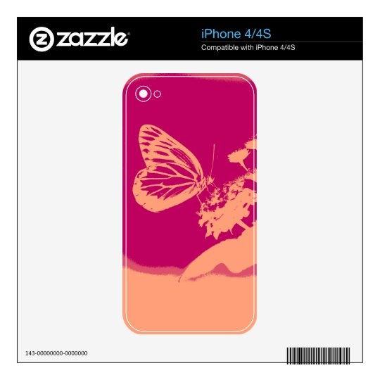 Vintage Butterfly on flower Decals For The iPhone 4