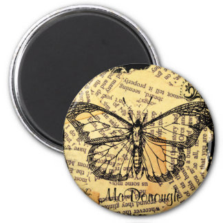 Vintage Butterfly on Paper 2 Inch Round Magnet
