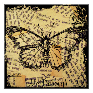 Vintage Butterfly on Paper Poster
