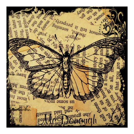 Vintage Butterfly on Paper Posters