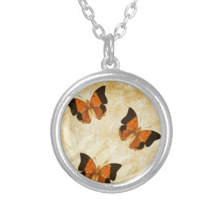 Vintage Butterfly on Parchment Silver Plated Necklace