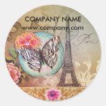 vintage butterfly Paris Eiffel Tower fashion Classic Round Sticker