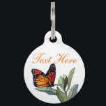 """Vintage Butterfly Pet ID Tag<br><div class=""""desc"""">A vintage public domain art of a  butterfly on a green plant from a children&#39;s Bible storybook.</div>"""