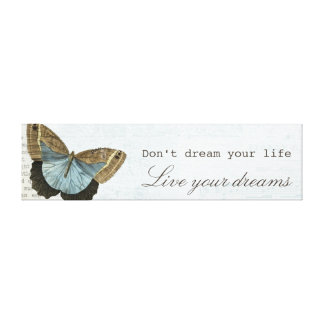 Vintage butterfly positive inspirational quote canvas print