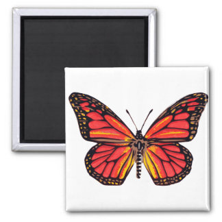 Vintage Butterfly Print 2 Inch Square Magnet
