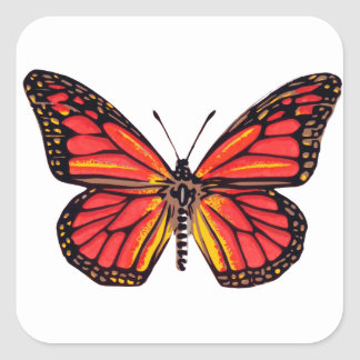 Vintage Butterfly Print Square Sticker