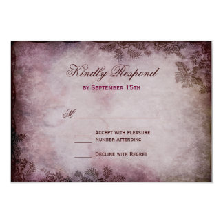 "Vintage Butterfly Purple Rustic Wedding RSVP Cards 3.5"" X 5"" Invitation Card"