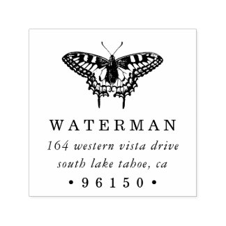 Vintage Butterfly Return Address Self-inking Stamp
