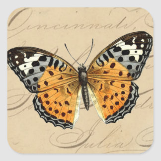Vintage Butterfly Round Square Sticker