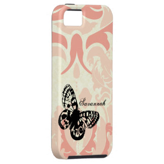 Vintage Butterfly Simply Peachy Damask iPhone Case iPhone 5 Covers