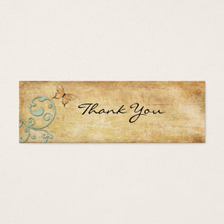 Vintage Butterfly Thank You Note Mini Business Card