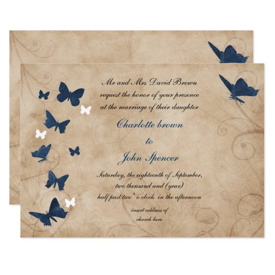Butterfly Themed Wedding Invitations: Vintage Butterfly Wedding Invitations