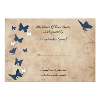 vintage butterfly wedding  rsvp Standard 3.5 x 5 Card