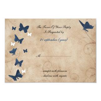 vintage butterfly wedding  rsvp Standard 3.5 x 5 Card