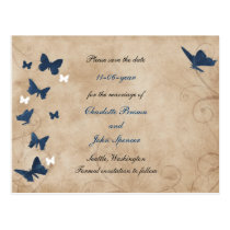 vintage butterfly wedding save the date postcard