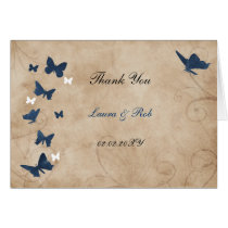 vintage butterfly wedding Thank You Card